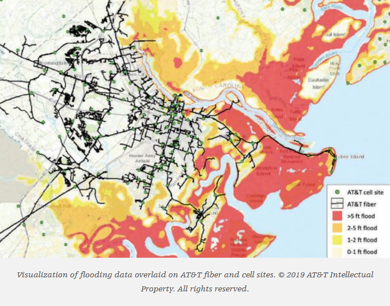 Vistualization of flooding data overlaid on AT&T fiber and cell sites.