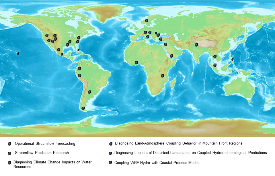 world map with dots in locations where WRF-Hydro has been implemented