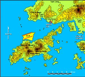 Topographical map of the region near Hong Kong's new airport. The highest elevations are above 800 meters.