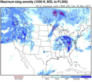 "This graphic display from the FIP-Severity software program depicts a two-hour icing severity forecast across the United States on March 15, 2011. The forecast is for a column extending from 1,000 to 30,000 feet above mean sea level. The shades of blue denote the level of severity, with dark blue indicating heavy icing. The red areas of ""SLD threat"" are warnings for the presence of supercooled large drops, an indicator of severe icing potential. Icing can create a significant hazard for some types of aircraft. (Image courtesy NOAA/NWS/ADDS.)"