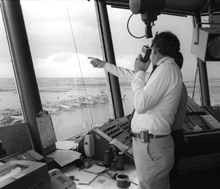 NCAR's John McCarthy spent much of his time during the summers of 1984 and 1985 in the control tower of Denver's Stapleton International Airport during the CLAWS project. (©UCAR. This image is freely available for media & nonprofit use.)