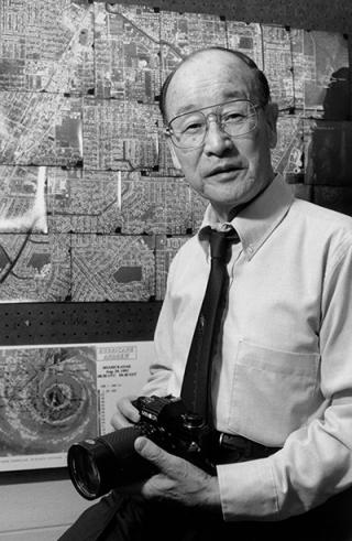 "Theodore ""Ted"" Fujita was renowned for his meticulous work in observing and analyzing meteorological phenomena, including tornadoes and microbursts, through photographs and damage surveys as well as weather data. (Photo courtesy University of Chicago.)"
