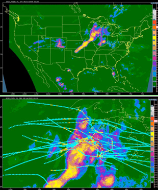 DCIT EDR output at FL370 for 00 UTC 5/14/09; (Bottom) blowup image of the upper Midwest showing overlaid 1–hr in situ EDR tracks validating the DCIT diagnosis. (Note that there are temporal offsets between the DCIT analysis time and some of the EDR measurements, so the correlation is not exact.)