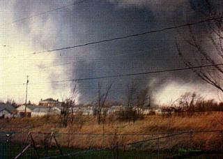 The deadliest single tornado of the Jumbo Outbreak on April 3, 1974, plowed through Xenia, Ohio, killing 36 people. (Wikimedia Commons image.)