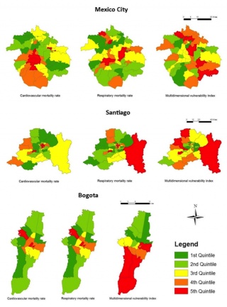 These maps show from left to right the geographic distribution of human mortality rates attributable to cardiovascular and respiratory disease, and the distribution of vulnerable groups as measured by the multidimensional vulnerability index (MVI) in the three cities. Data in the maps are divided into five equal groups. The first quintile contains the lowest 20% of values, while the fifth quintile has the highest 20%.
