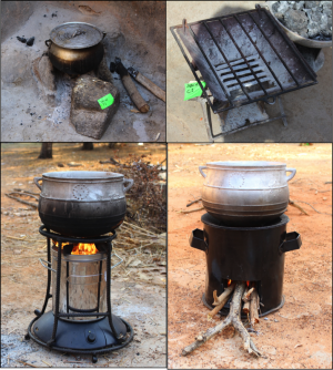 Traditional and improved stove technologies being compared in the REACCTING study.  Top left: Traditional three stone stove. Top right: traditional charcoal stove. Bottom left: Phillips Smokeless Stove, Made in Lesotho (Southern Africa) Bottom right: Gyapa Woodstove. Made in Accra, Ghana. (Source: REACCTING Research Team)
