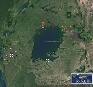 Field Campaign domain for the Lake Victoria Basin. Open white  circles show locations of existing dual-polarization radars; red balloon is the  location of the one operational upper air station; yellow triangles, white and  green squares, and magenta circles are surface stations locations