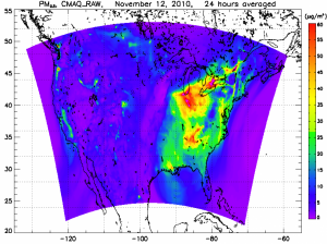 Fine particulate matter predictions over the US.