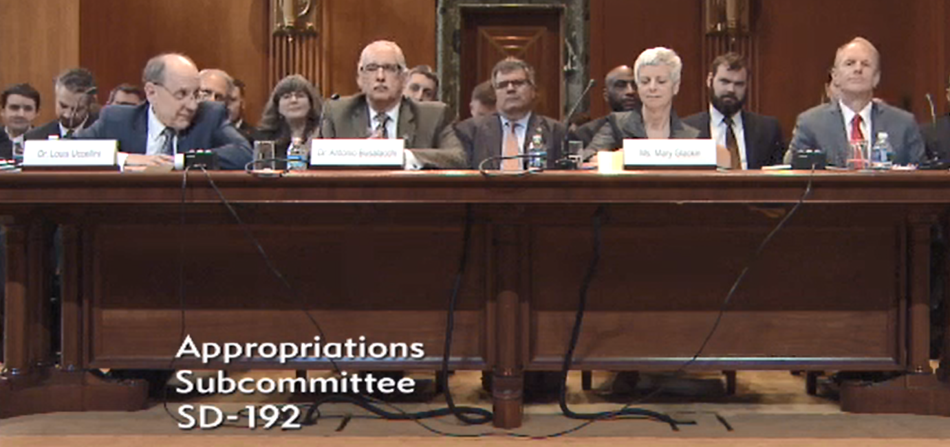 Testifying before the Senate Appropriations Subcommittee on Commerce, Justice, State. From left: Louis Uccellini, Antonio Busalacchi, Mary Glackin and David Koon.