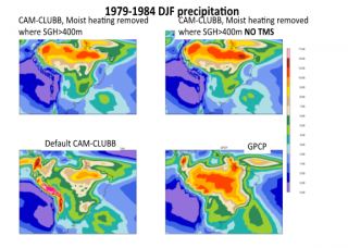 Sensitivity experiments using CAM6-beta AMIP simulations in which moist heating is removed wherever the subgrid orographic standard deviation SGH>400. Condensation is not modified. Disappearance of bias over Andes suggests feedback between moist heating and moisture convergence. Not improved precipitation over Amazon basin in sensitivity runs.