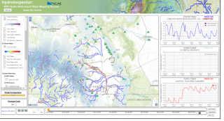 HydroInspector web mapping service display of observation stations (white circles) and observation and model time series (right hand side time series plots) from the Upper Rio Grande observation and modeling project