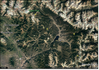 GoogleEarth map plot of the proposed installation sites (yellow balloons) of 4 new SNOTEL lite stations to be deployed in the Upper Taylor River Basin near Crested Butte, Colorado.  Inset photo shows the system hardware.