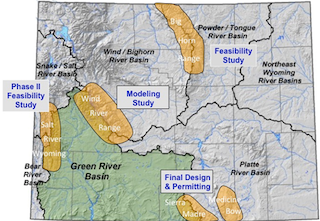 Figure 1. A map of Wyoming with coarse representation of topography and major river basins. Yellow areas denote the five mountain ranges under study related to winter orographic cloud seeding programs: Medicine Bow, Sierra Madre, Wind River, Salt River/Wyoming, and Bighorn Ranges.