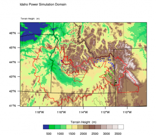 Map of the Snake Watershed in Idaho (large red outline) and existing ground generator and observational facility sites on a map of terrain height (m; color shading).  The Payette River Basin, Boise Basin, and Woods Basin target areas are located (north to southeast) in the western Snake watershed, north of Boise and each is also outlined in red.  The Upper Snake River Basin target area is located in Eastern Idaho, also outlined in red.  Ground generator locations are identified as circle and triangle symbols, and color-coded as red-filled circles (Payette, Boise, Woods), blue (north Eastern Idaho), and green (south Eastern Idaho).  The circles are Idaho Power owned generators, and the triangles are generators operated by Let it Snow. Grey lines indicate flight tracks used by the cloud seeding aircraft. Black squares indicate the location of microwave radiometers, black x's for atmospheric sounding sites, open blue and red circles are high-resolution snow gauge sites (located in the western Snake Basin).