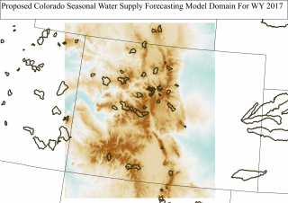 Map of expanded central Rocky Mountain seasonal water supply forecasting domain to be used beginning in Water Year 2017. Inset watersheds indicate headwater catchments used in model calibration.