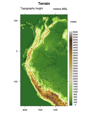 The high resolution WRF domain over the Northwestern Andean Region.