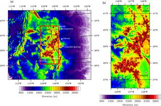 Figure 1: The WRF model domain and location of SNOTEL sites (black dots). (a) The full model domain. (b) Sub–domain focused on the 112 SNOTEL sites in the Colorado Headwaters region. Click to Enlarge