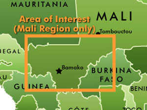 Target Region: Mali within the bounded region. (click map to enlarge)