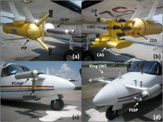 Figure 1: The SAWS Aero Commander at Hyderabad India. The NCAR and WITS instruments are shown; (a) PIP and FSSP wing, (b) CAS, LWC, CIP and 2DS, (c) PCASP and AIMMS, (d) King LWC and FSSP nose