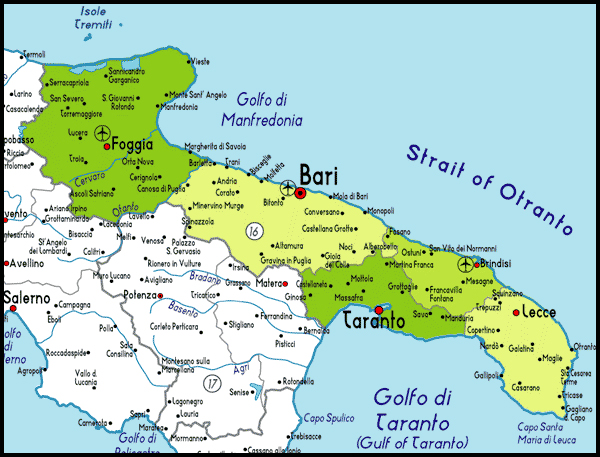 Map Of South Italy.South East Italy Map Time Zones Map