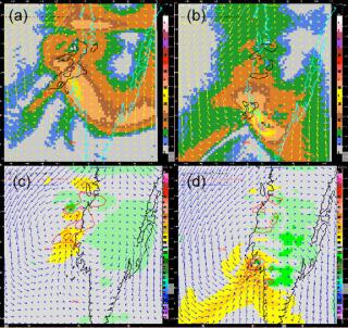 VDRAS analysis on a domain over southern Taiwan. (a) Horizontal temperature gradient (color shading), 25 and 35 dBZ reflectivity (black contour), and wind vector at the height of 0.187 km above ground at 0258 UTC on May 31, 2008. (b) Same as (a) but at 0715 UTC. (c) Same as (a) but for vertical velocity (color shading) at the height of 1.3 km. (d) Same as (c) but at 0715 UTC. The 200 m terrain height is outlined by cyan contour in (a) and (b) and black contour in (c) and (d)