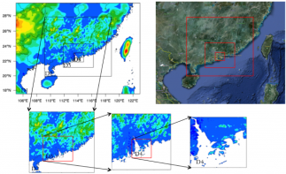 The model domain configuration for real-time high-resolution weather analysis and production of 5-year microclimatology for Shenzhen metropolitan areas. The terrain height is shown in color shades.