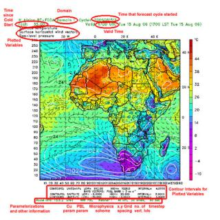 Weather Researach and Forecasting Model (WRF)  The WRF Model is a next-generation mesocale numerical weather prediction system designed to serve both operational forecasting and atmospheric research needs. It features multiple dynamical cores, a 3-dimensional variational (3DVAR) data assimilation system, and a software architecture allowing for computational parallelism and system extensibility. WRF is suitable for a broad spectrum of spatial scales ranging from meters to thousands of kilometers.  The WRF Model has been developed through a collaboration between the National Center for Atmospheric Research (NCAR), the National Oceanic and Atmospheric Administration (the National Centers for Environmental Prediction (NCEP) and the Earth System Research Laboratory (ESRL) Global Systems Division (GSD), the U.S. Air Force Weather Agency (AFWA), the Naval Research Laboratory, Oklahoma University, and the Federal Aviation Administration (FAA).  Real-Time Four Dimensional Data Assimilation (RTFDDA)  The Real-Time Four Dimensional Data Assimilation (RTFDDA) system is a numerical weather prediction model that was originally developed by NCAR for producing analyses of current meteorological conditions and forecasts for U.S Army test ranges. Since then, the system has been adopted by other DoD and government agencies for support of special missions and for homeland-security applications.  RTFDDA focuses its computational resources on forecasting for specific geographic areas - not the entire continent, for example. This narrow focus enables the model to resolve a greater number of meteorological features while maintaining accuracy. The forecasting system can be deployed worldwide to address threats of a human or man-made nature. In summary, the system excels at representing the details of the day-to-day weather in urban areas, as well as the extreme weather associated with hurricanes and thunderstorms.