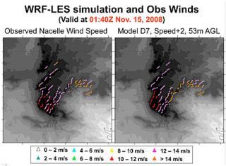 Comparison of WRF-RTFDDA-LES modeled and observed winds at the turbine hub-heights in the Cedar Creek wind farm in northern Colorado.
