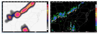 12 hour likelihood forecast for a large-scale convective storm based on a HRRR time-lagged ensemble (left) compared to the observed storm at valid time (right).