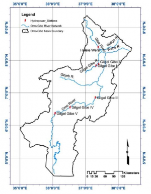 Figure 2: Location of the five hydropower reservoirs in the Gibe basin.