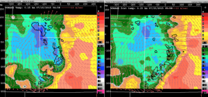 VDRAS analyses of perturbation temperature (color fill), wind vectors, and rain water mixing ratio at the height 150m above ground valid at 2015071505 UTC (left) and 1h nowcast.