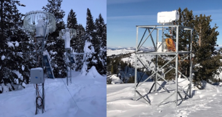 Figure 3.  Snow gauges (left) and a radiometer (right) deployed in the mountains of the Payette Basin.