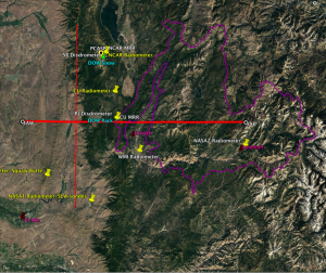 Figure 4.  Map of the SNOWIE project area (Payette Basin outlined in magenta) with sample aircraft tracks that would be flown under westerly wind flow.  The thin red north-south track represents the seeding aircraft track and the thick red west-east line represents the UWKA track.  The yellow pindrops indicate locations of microwave radiometers and the maroon pindrops indicate locations of atmospheric sounding sites.