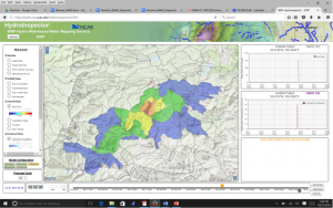 Figure 1. An example of outputs of heavy rainfall and streamflow forecast displays from the HydroInspector tool.