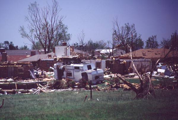 Uprooted trees in Norman, OK, after tornado on April 13, 2012