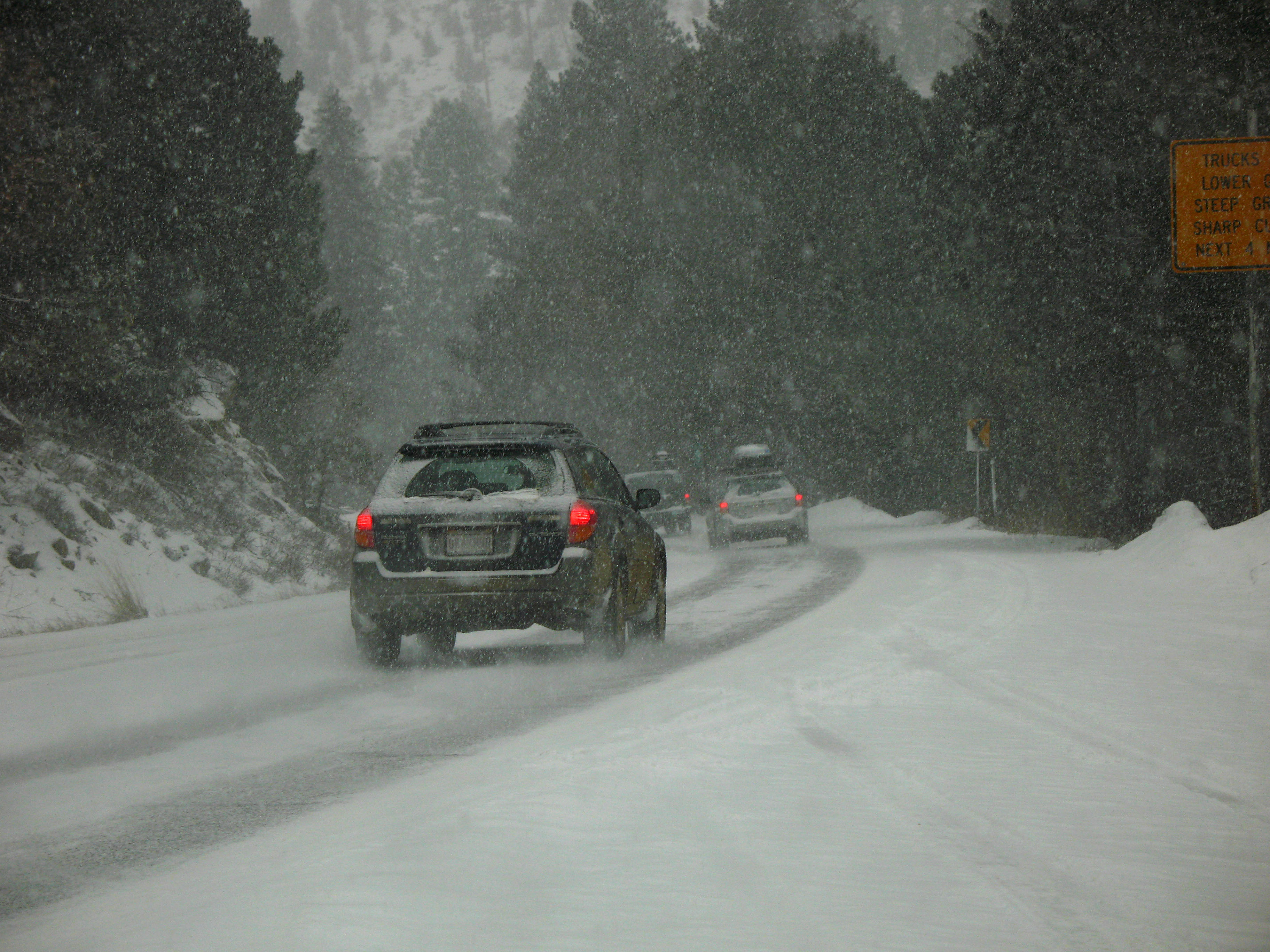 Cars driving in snowy conditions