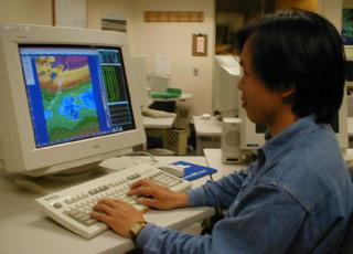 Ching-Huei Hsu (Jeff ), a visiting engineer from the CAA in Taipei,  working on the AOAWS MDS display at the Boulder lab.