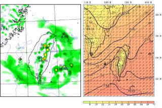 Sample graphics from the AOAWS model display system showing three-hour precipitation accumulation (left) and surface wind and pressure (right).