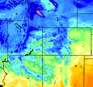 Sample image of the surface air temperature generated by GRAFS at 21 UTC on April 8, 2009 zoomed in over Colorado. The impact of the complex  terrain is highlighted.