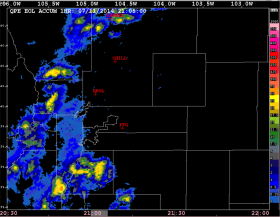 Radar-based EOL QPE mosaic field showing the 1 hour rainfall accumulation along the Front Range.