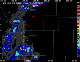 Radar-based MRMS QPE mosaic field showing the 1 hour rainfall accumulation along the Front Range.