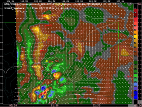 VDRAS high resolution wind vectors and convergence field at 0. 15 km AGL. Brown and red shades represent regions of convergence; green and blue shades represent regions of divergence.