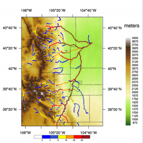 WRF-Hydro 60 min streamflow prediction from 2300 UTC on 16 July 2014 along the Front Range using WRF-3DVAR with DA and AutoNowcaster nowcasts (WRF-Hydro ANC). Color markers indicate streamflow values ranging from 0-64 m3sec-1 with red colors being the highest values.