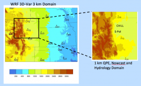 Figure 1. STEP Hydromet Prediction System domainsfor the STEP 2015 testbed demonstration. The color shaded images are topographical image for the respective domains.