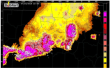 BoltAlert® lightning potential (high risk in magenta) and actual strikes.