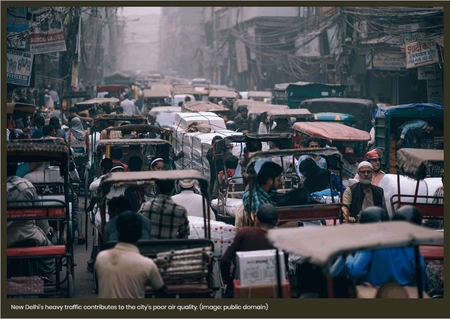 New Delhi's heavy traffic contributes to the city's poor air quality.